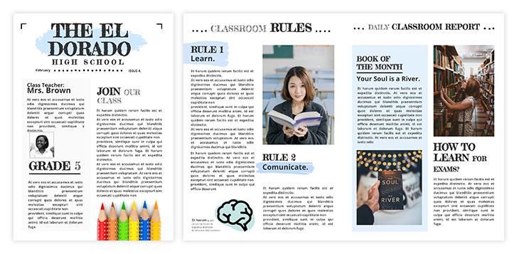 Classic classroom newspaper template
