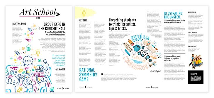 Colorful school newspaper template