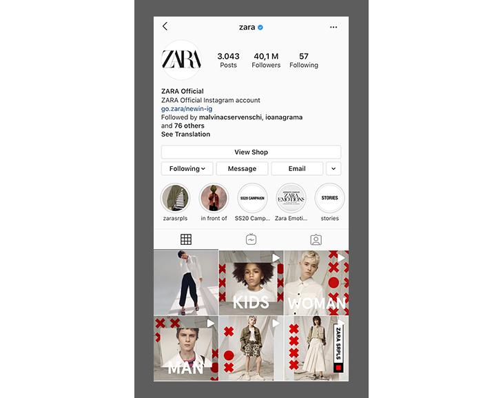 Retail marketing strategies - Zara on Instagram
