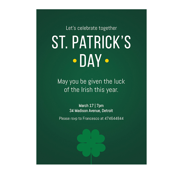 Simple St Patrick's Day Flyer Template