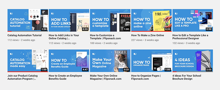 Youtube Flipsnack channel