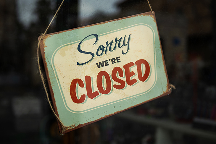 Sorry we`re closed sign