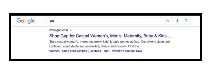 Gap.com result on google