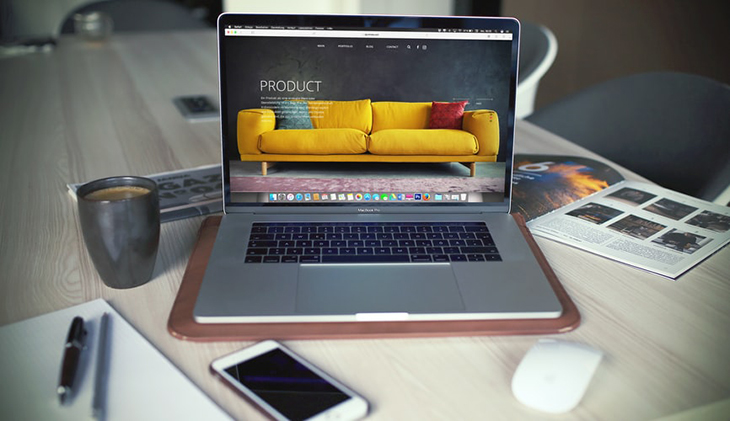 Website template example on a laptop