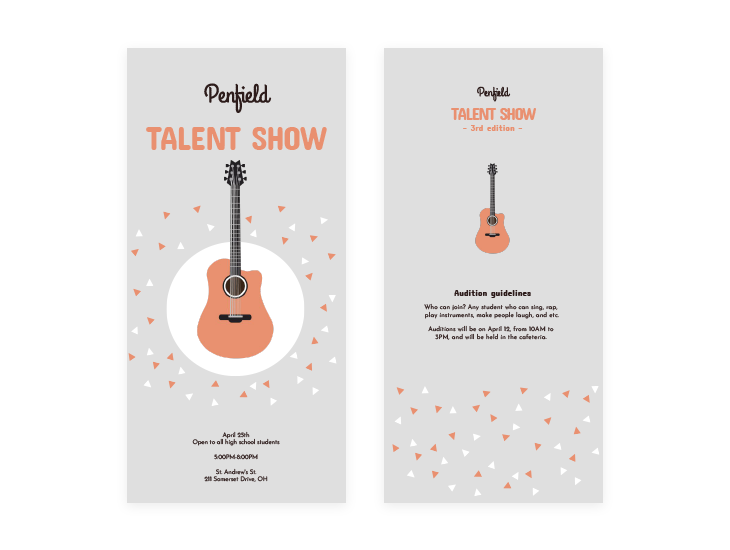 Illustrated Talent Show Program Template