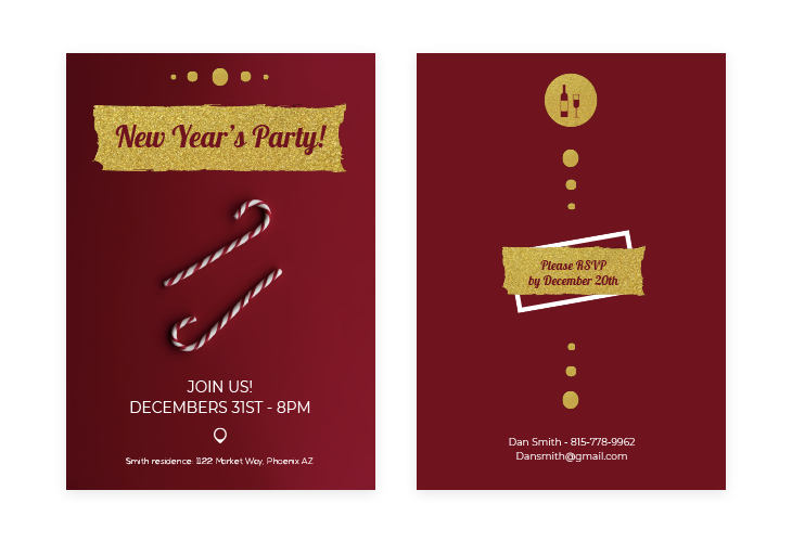 Red New Year Invitation Template
