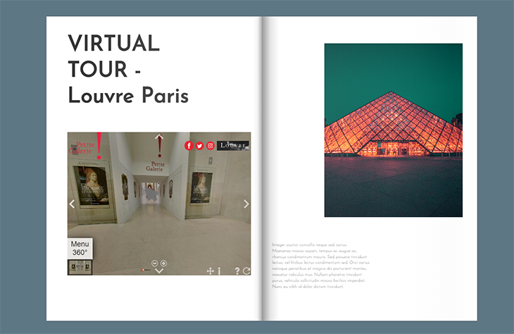 an example of how you can integrate a virtual tour of the Louvre museum in a flipbook