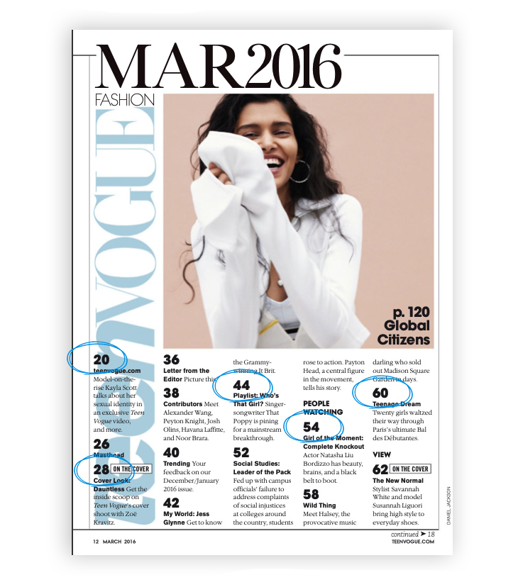 Teen Vogue table of contents- how to run an online magazine in 2020