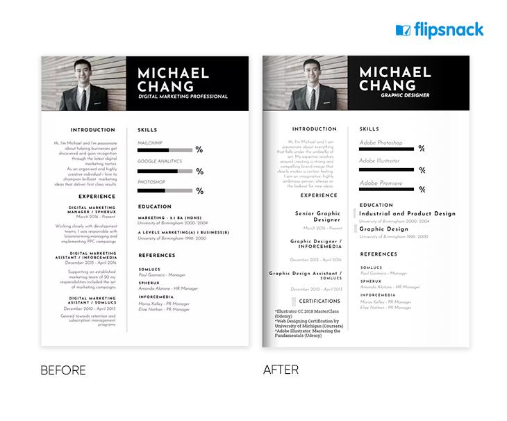 example of an online resume edited in Flipsnack's resume maker