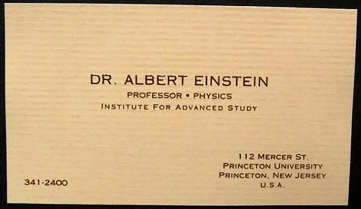 Picture of Albert Einstein's business card