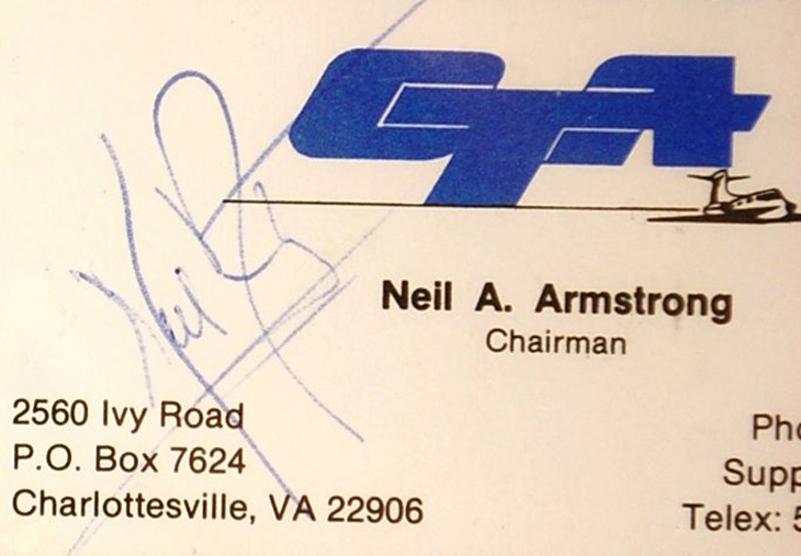 image of neil armstrong's business card