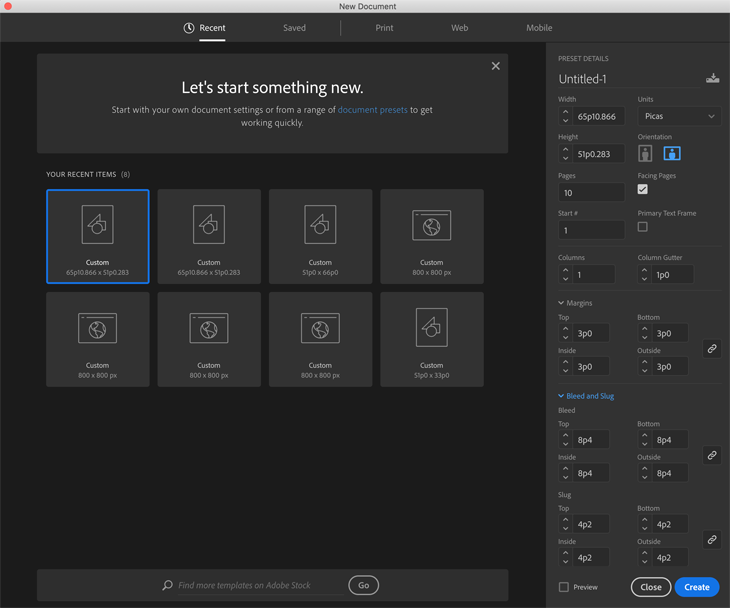 opening a new document tab in Indesign
