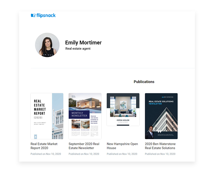 example of realtor profile on Flipsnack
