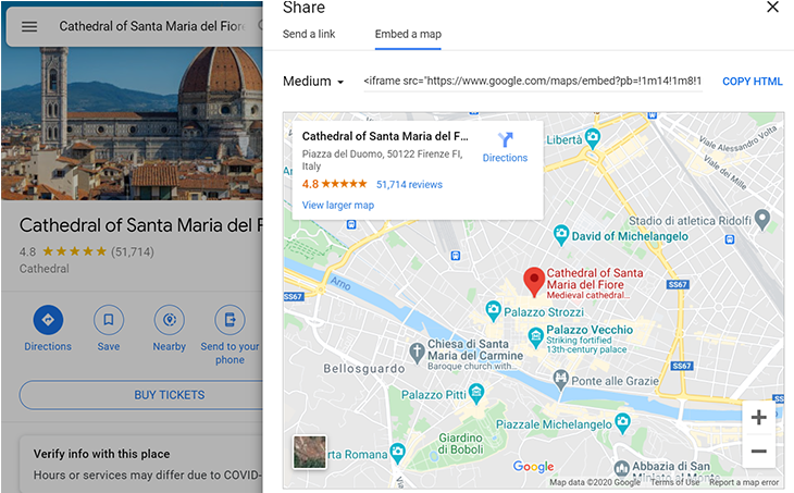 where to find the embed option in Google maps