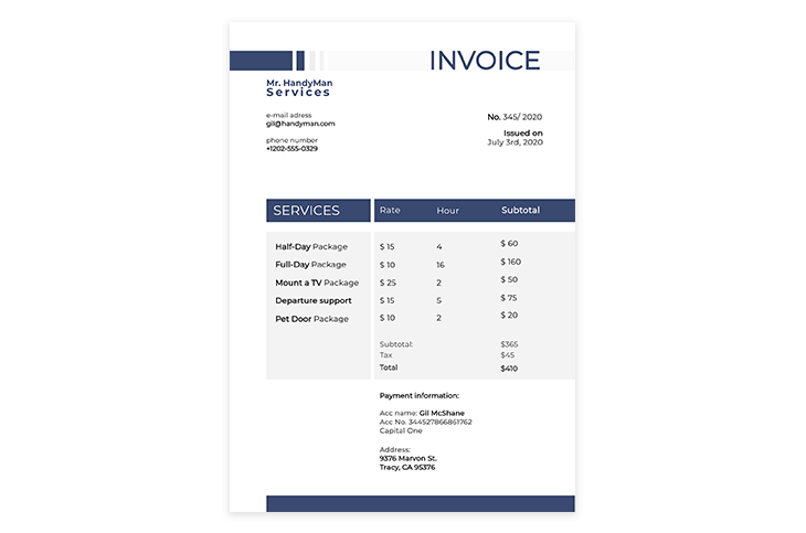 Services Invoice Example Template