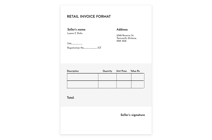 Retail Invoice Format Template