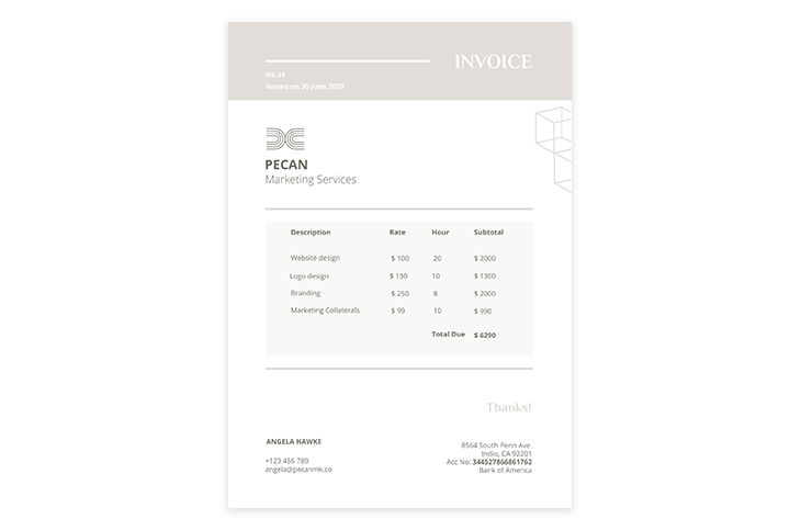 Printable Invoice Design Template