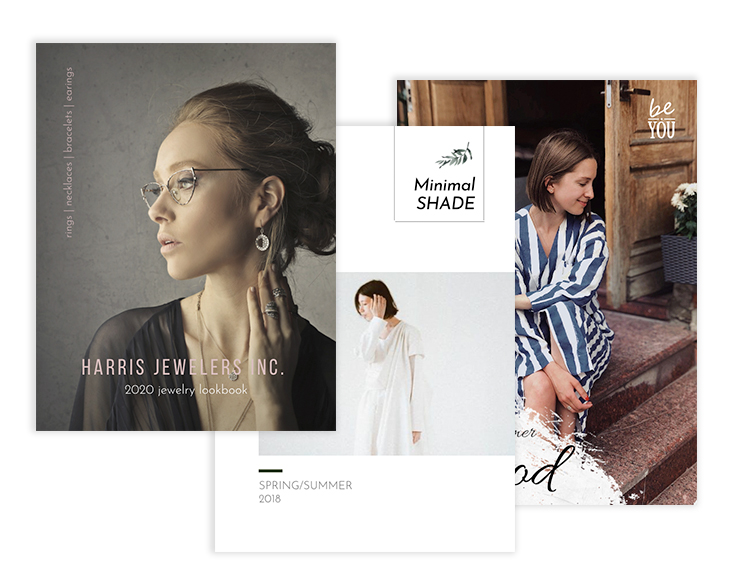 collage of lookbook templates designed in Flipsnack