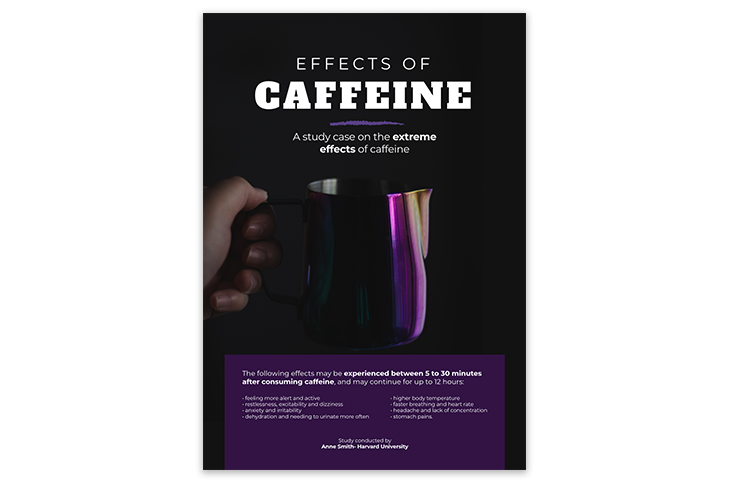 research poster highlighting the effects of caffeine