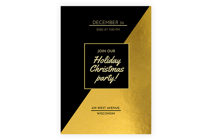 Gold Christmas Party Invitation Template