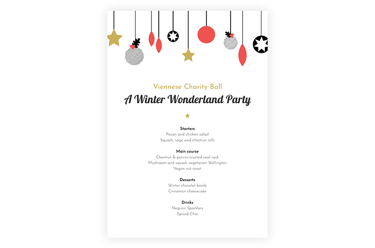 Illustrated Christmas Party Menu Template