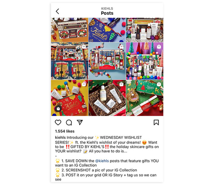 kiehls holiday marketing instagram post example
