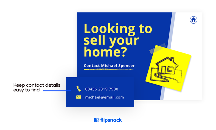 real estate postcards have complete contact details