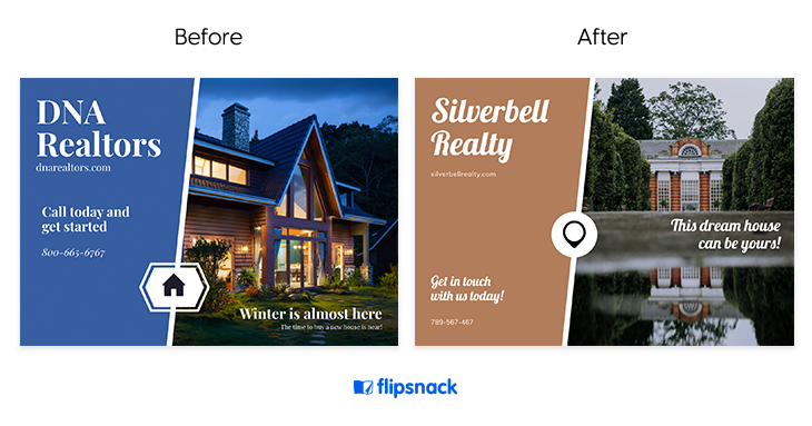 before and after real estate postcard ideas example