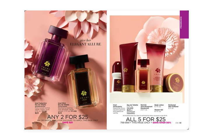 pages from a magazine showing different beauty products