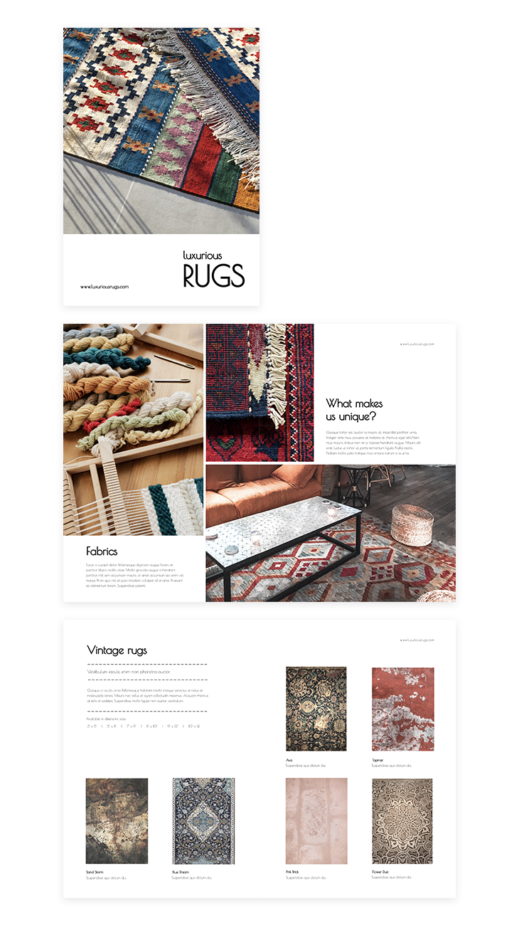 luxurious rugs product catalog template