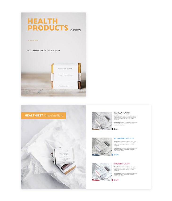 flipsnack health products catalog template