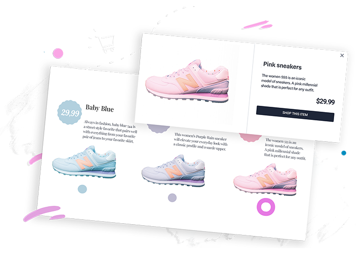 page from a product catalog showing different pairs of shoes