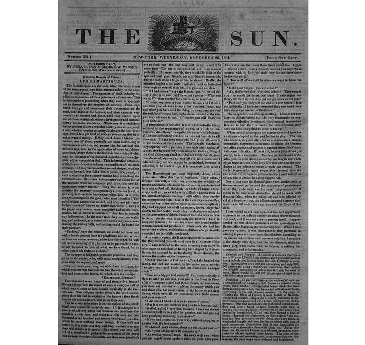 the first penny press newspaper in the United States
