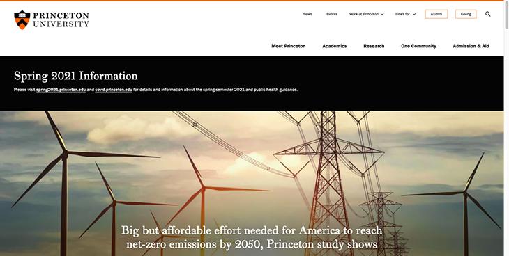 princeton website homepage