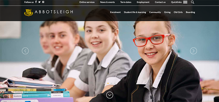 Abbotsleigh, example of an educational website design