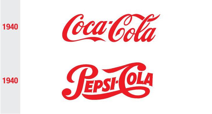 coca-cola and pepsi logo comparison in 1940