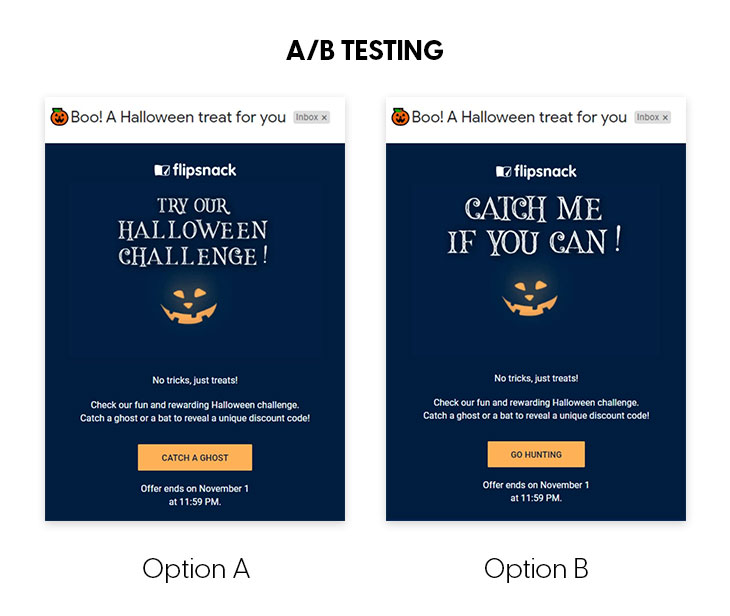 example of an A/B testing - this is one of the best email marketing strategies