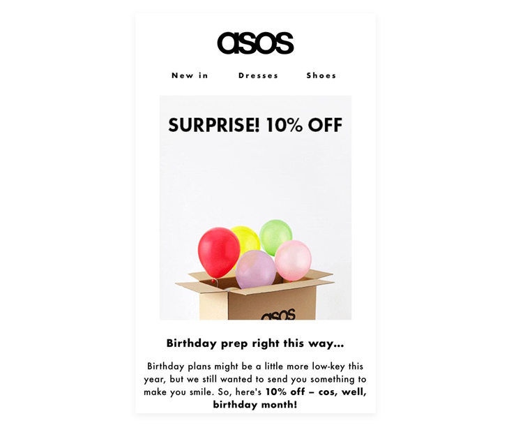 ASOS's example of an automated email campaign - this is one of the best email marketing strategies