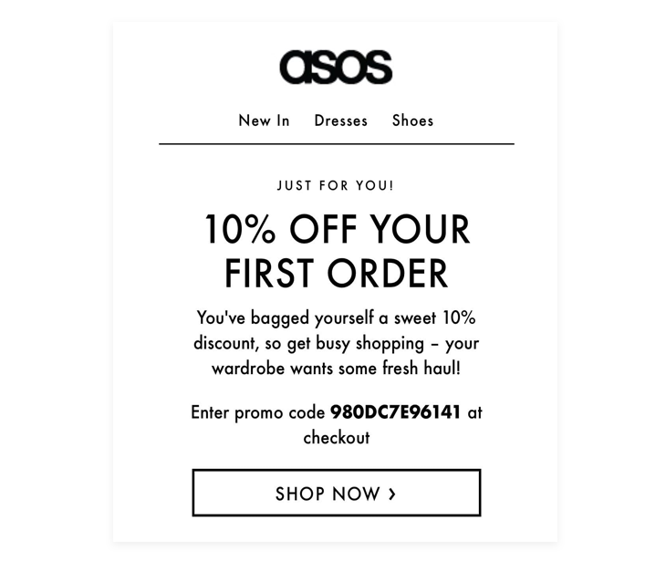 ASOS's example of a lead magnet email - - this is one of the best email marketing strategies