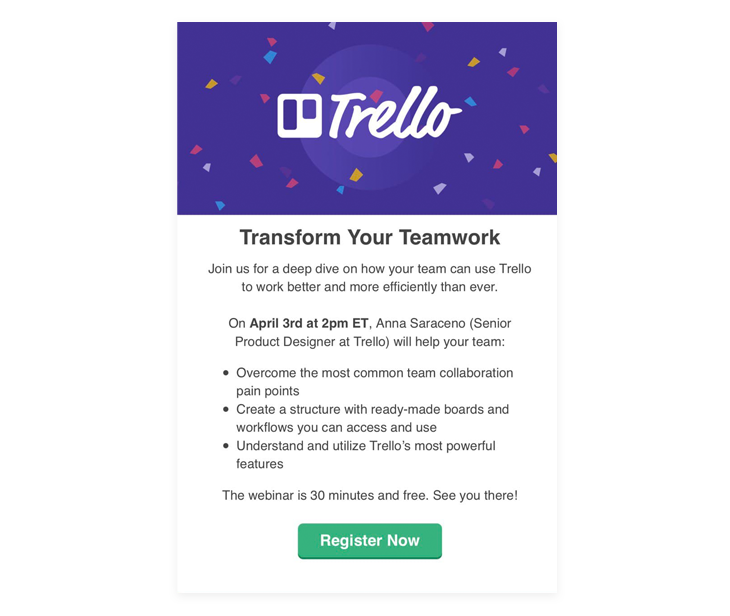 Trello's example of a lead magnet email - - this is one of the best email marketing strategies