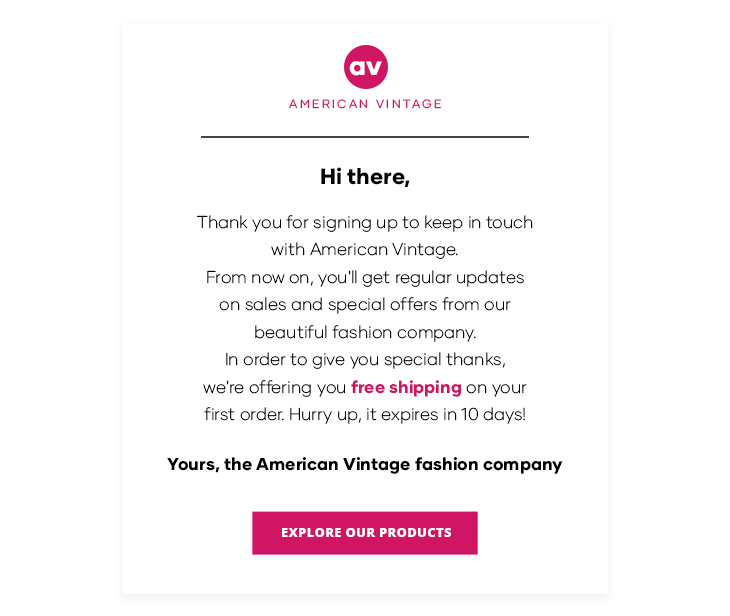 example of an email template for setting an email campaign