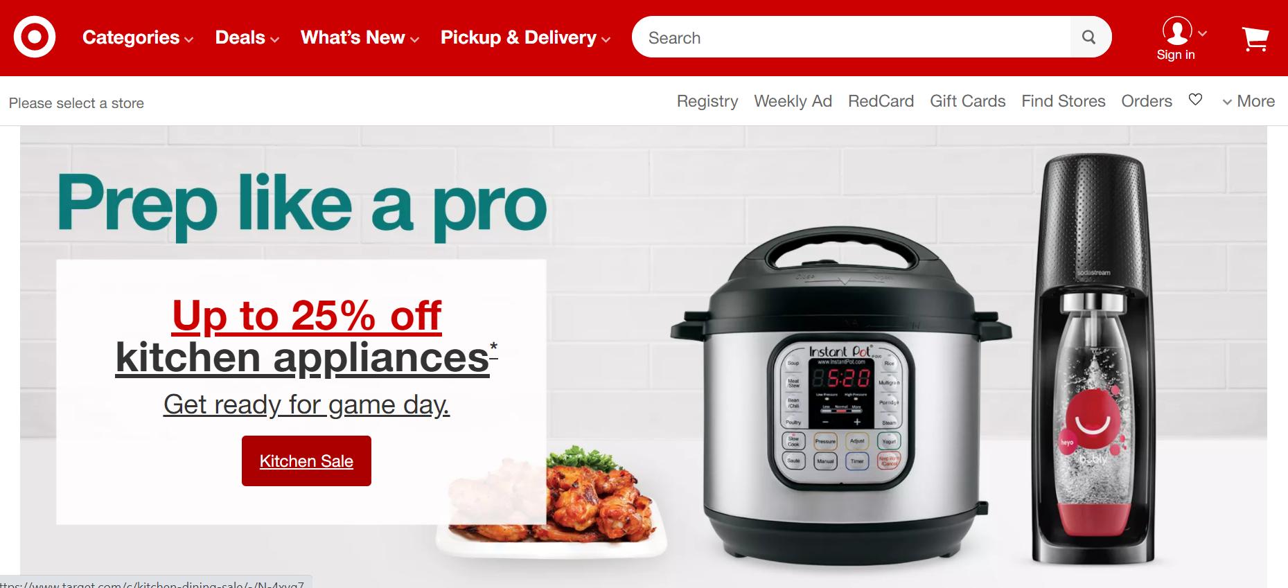 Target eCommerce branding website example