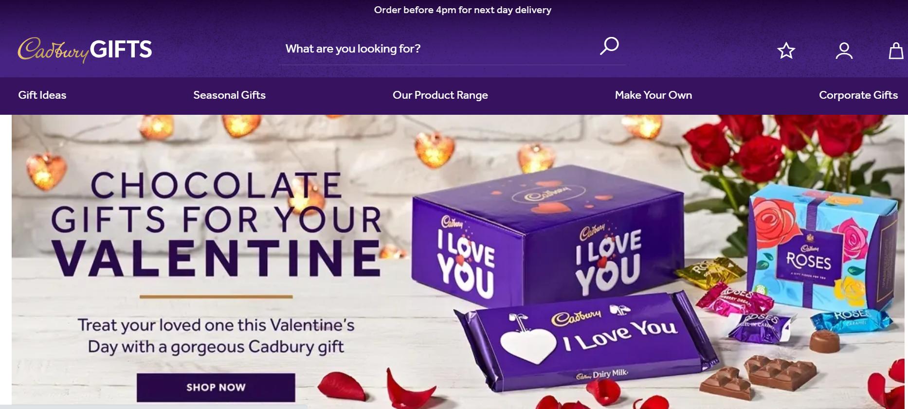 Cadbury eCommerce branding website example