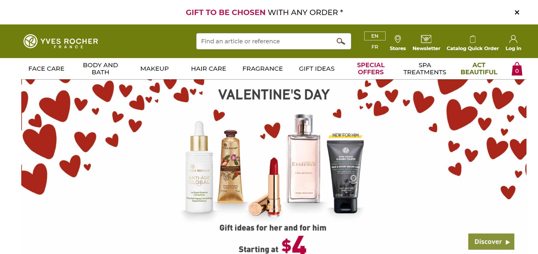 Yves Rocher eCommerce branding website example