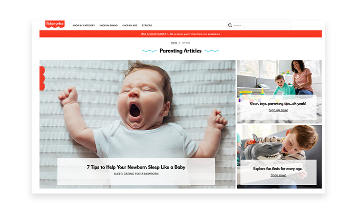Fisher-Price blog content strategy
