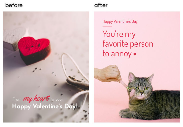 ways to edit a Valentines day card in Flipsnack with your own message