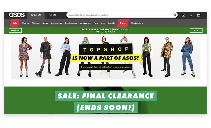 Asos website branding example