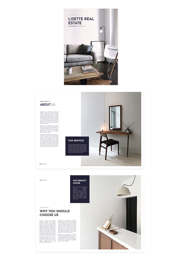 modern real estate booklet template created with Flipsnack's real estate marketing tool