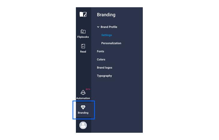 Flipsnack branding feature button