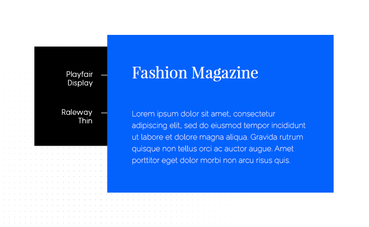 Playfair Display & Raleway Thin font pairing example